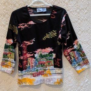 Jane Ashley Tres Chic embellished shirt. Sz L